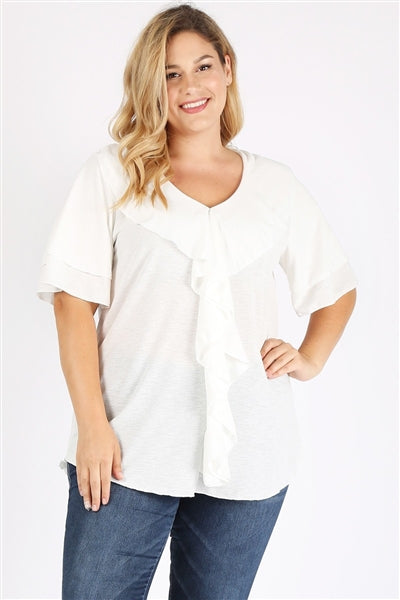 Plus Size Knit Solid Ruffle Top White - Pack of 6