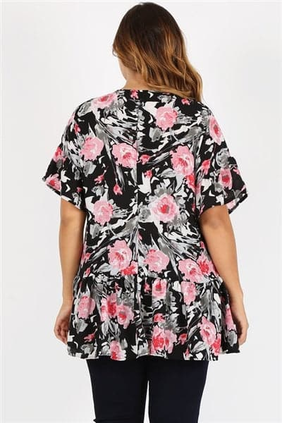 Plus Size Ruffle Floral Tunic Top Black Pink - Pack of 6