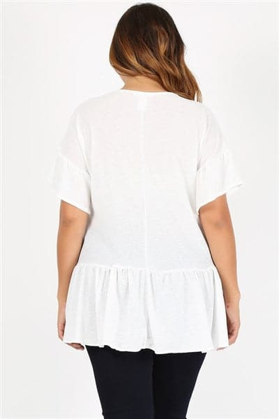 Plus Size Ruffle Solid Tunic Top Ivory - Pack of 6