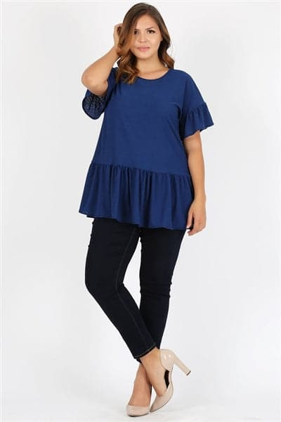 Plus Size Ruffle Solid Tunic Top Navy - Pack of 6