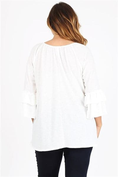 Plus Size Knit 3/4 Sleeve Double Layer Ruffle Sleeve  White - Pack of 6