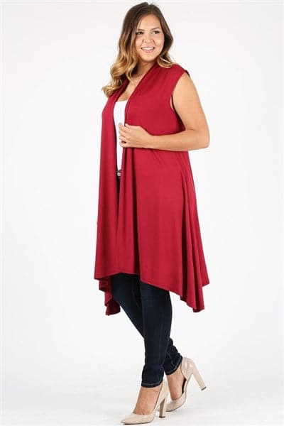 Plus size open front long Cardigan Robe Burgundy -  Pack of 6
