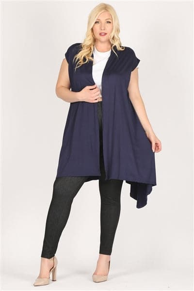 Plus size open front long Cardigan Robe Navy -  Pack of 6