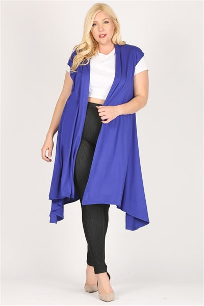 Plus size open front long Cardigan Robe Royal  -  Pack of 6
