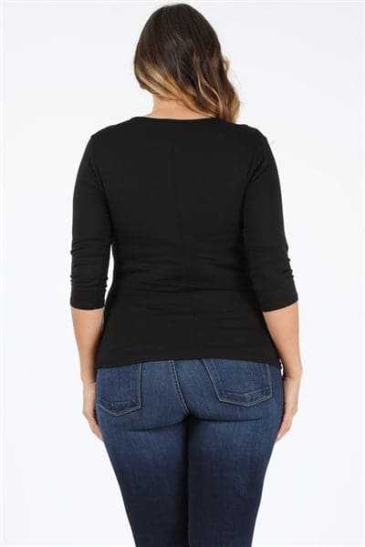 Plus Size 3/4 Sleeve Drawstring Top Black - Pack of 6