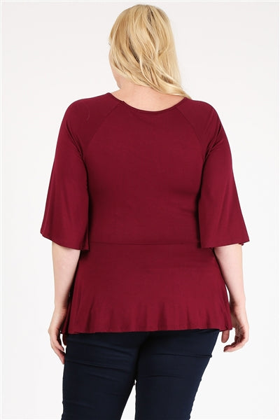 Plus Size Tie-Front Tunic Burgundy - Pack of 6