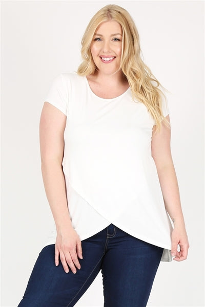 Plus Size Overlap Crossed Top Ivory - Pack of 6