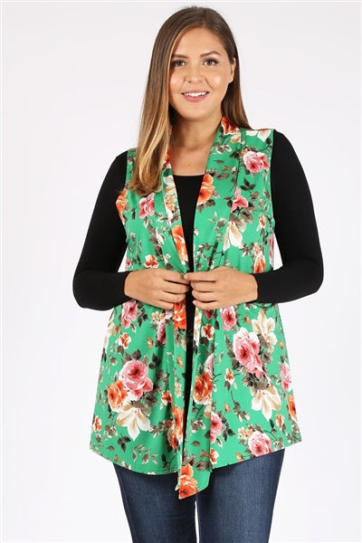 Plus Size Open Front Printed Cardigan Green Rust - Pack of 6