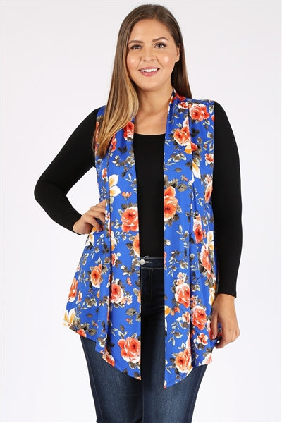 Plus Size Open Front Printed Cardigan Royal Orange - Pack of 6