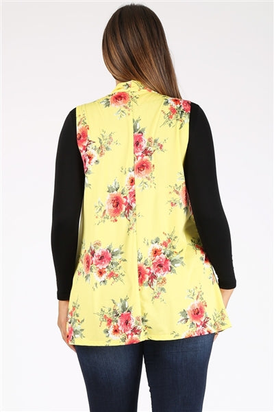 Plus Size Open Front Printed Cardigan Yellow Coral - Pack of 6
