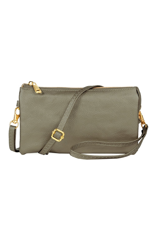 Faux Crossbody Wristlet Bag Pewter