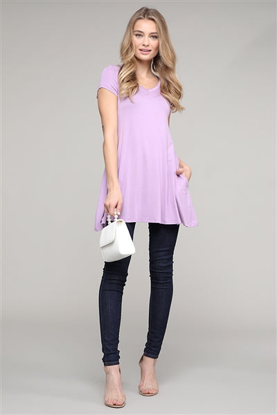 Cap Sleeve Solid Hue Tunic Violet  - Pack of 6