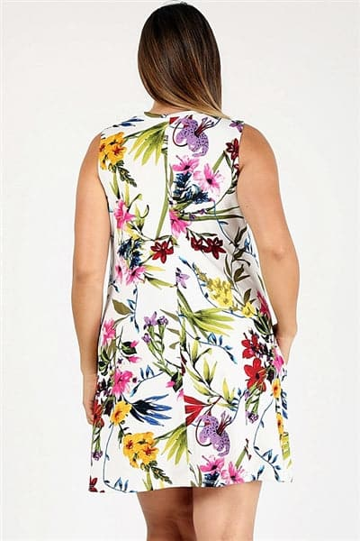 Plus Size Floral Print Long Tunic with Side Pockets  Ivory Coral - Pack of 6
