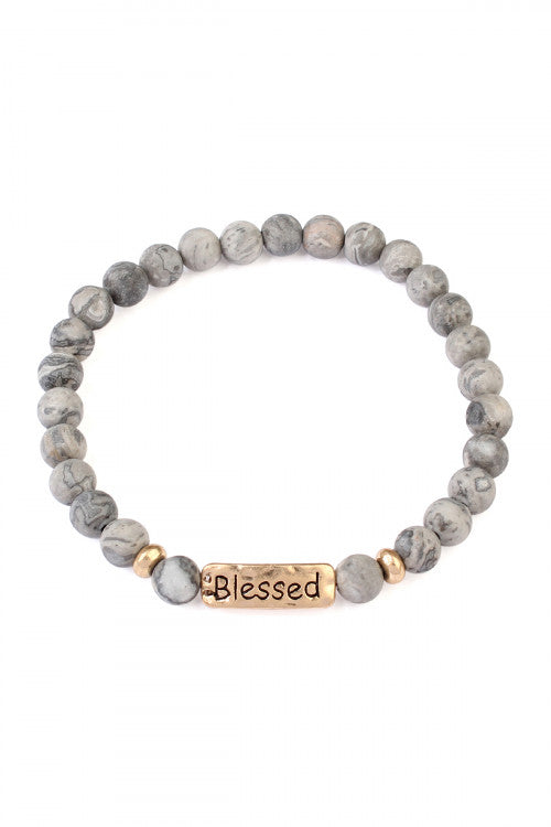 Blessed Natural Stone Stretch Bracelet Gray
