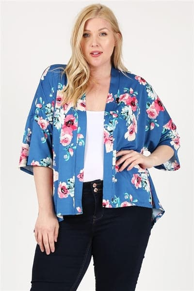 Plus Size Open Front Floral Pring Cardigan Navy -  Pack of 6