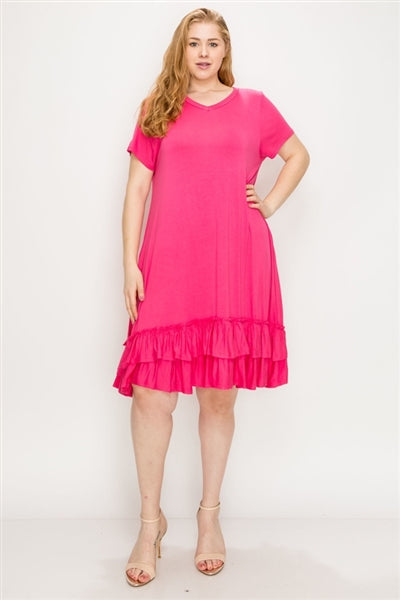 Plus Size Ruffle-Trim Georgette Swing Dress Coral - Pack of 6