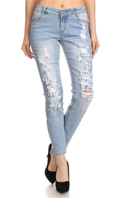 Mid Rise Ripped Stretch Skinny Jeans - Pack of 12