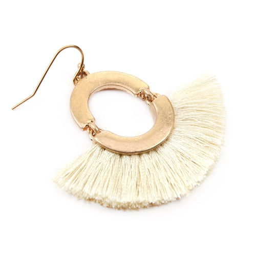 Fan Shaped Tassel Linked Hoop Drop Earrings Ivory - Pack of 6