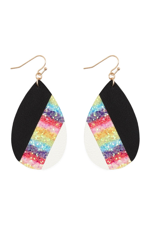 Mosaic Sequine Leather Teardrop Earrings Gold Multicolor - Pack of 6