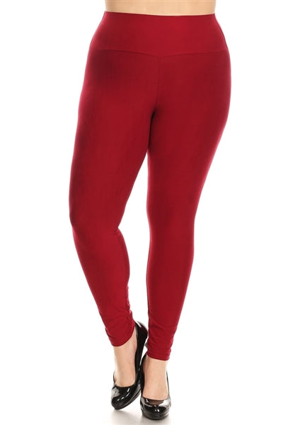 Plus Size Stretchy Soft Leggings Burgundy - Pack of 10