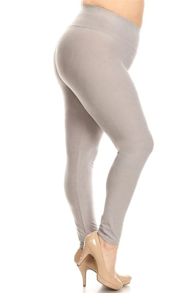 Plus Size Stretchy Soft Leggings Gray - Pack of 10