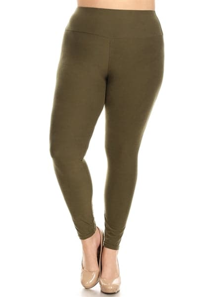Plus Size Stretchy Soft Leggings Olive - Pack of 10