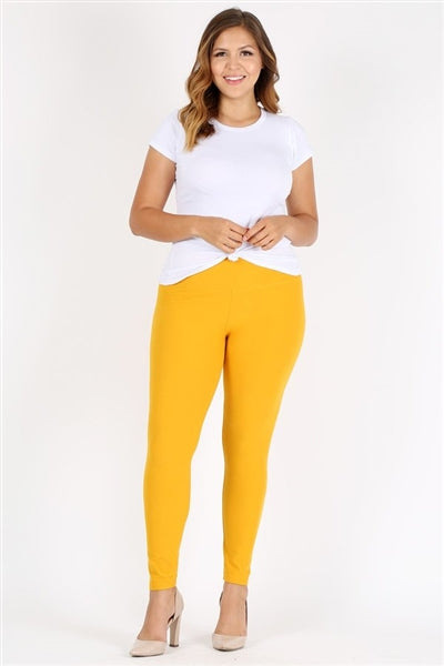 Plus Size High Waist Brushed Legging Pants Yellow - Pack of 6