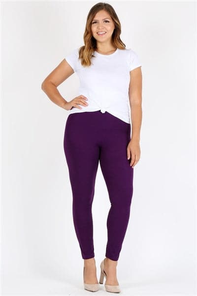 Plus Size High Waist Brushed Legging Pants Purple  - Pack of 6