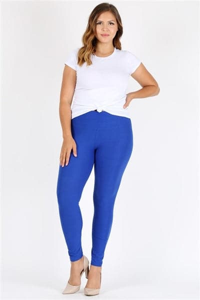 Plus Size High Waist Brushed Legging Pants Royal Blue - Pack of 6