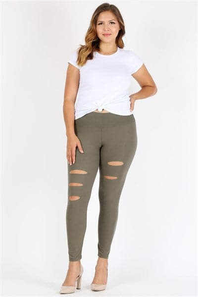 Plus Size Ripped High Waist Legging Pants Olive - Pack of 6