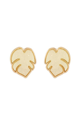 Cast Leaf Shape Drop Earrings Rose Gold - Pack of 6