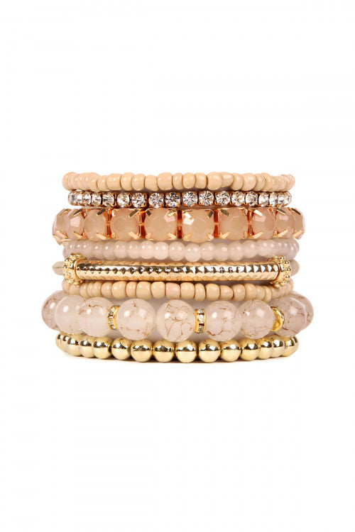 Light Brown Multicolor Stretch Bracelet - Pack of 6