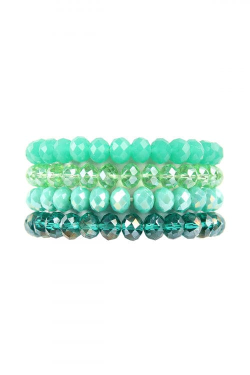 Green Four Line Crystal Beads Stretch Bracelet -  Pack of 6