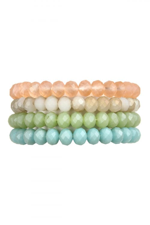 Light Multicolor Four Line Crystal Beads Stretch Bracelet -  Pack of 6
