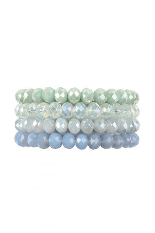 Leaf Charm Beaded Bracelet Amazonite - Pack of 6