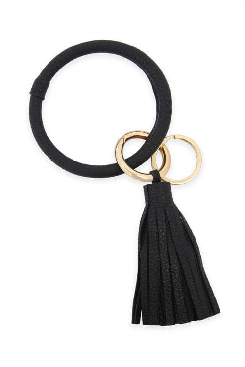 Leather Coated Key Ring With Leather Tassel Black - Pack of 6