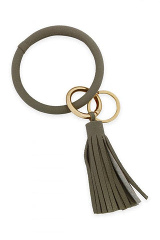 Leather Coated Key Ring With Leather Tassel Light Gray - Pack of 6