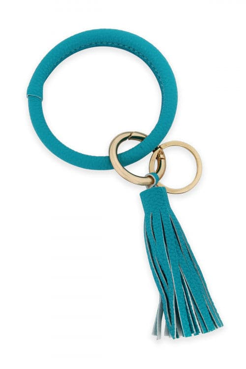 Leather Coated Key Ring With Leather Tassel Turquoise - Pack of 6