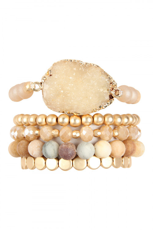 Druzy Charm Mixed Bracelet Set Light Brown -  Pack of 6