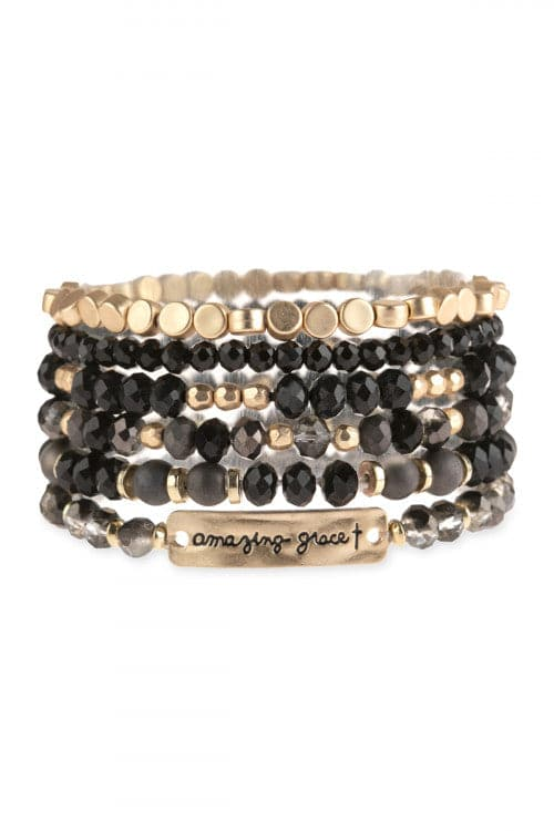 Amazing Grace Charm Mix Beads Bracelet Black - Pack of 6