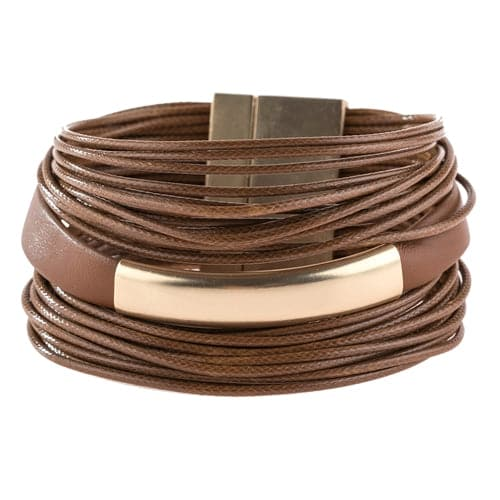 Multi Strand With Bar Leather Bracelet Brown - Pack of 6