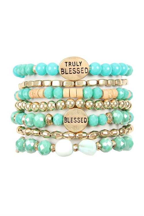 Truly Blessed Charm Mix Beads Bracelet Turquoise - Pack of 6
