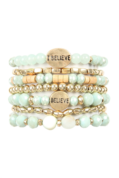 I Believe Charm Mix Beads Bracelet Mint - Pack of 6