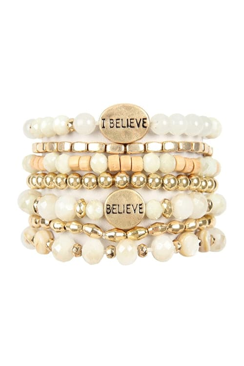 I Believe Charm Mix Beads Bracelet Natural - Pack of 6