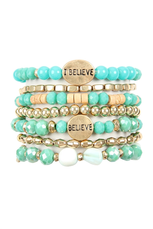 I Believe Charm Mix Beads Bracelet Turquoise -  Pack of 6