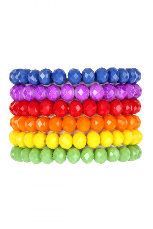 Six Multicolor Stretch Glass Beads Bracelet Set - Pack of 6