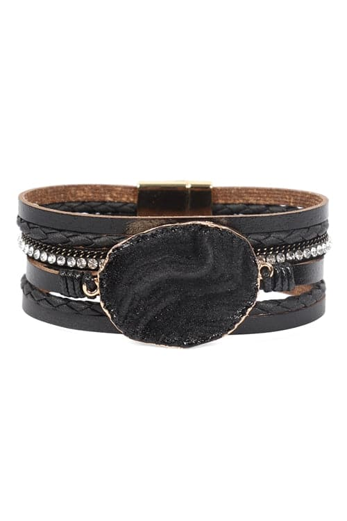 Black Large Semi Stone Leather Wrap Bracelet - Pack of 6