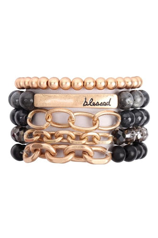 Brown Large Semi Stone Leather Wrap Bracelet - Pack of 6