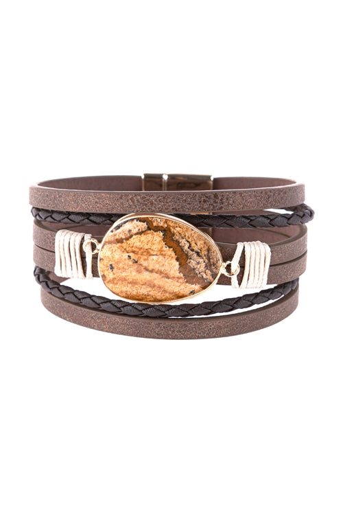 Multi Line Leather With Magnetic Lock Charm Bracelet Brown - Pack of 6