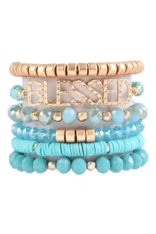 Blessed Charm Multiline Beaded Bracelet Turquoise - Pack of 6